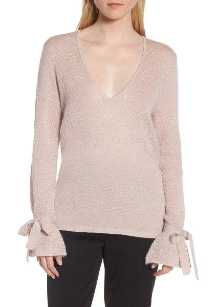 LEWIT metallic mohair blend sweater in pink metallic - A V-neck pullover is reset for a rich and romantic new...