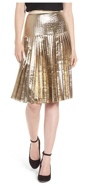 LEWIT pleated metallic skirt in gold - The skirt to have this season is both ladylike and...