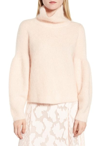 LEWIT poet sleeve sweater in pink peony bud - Sleeves with a gracefully billowed shape bring a dash of...