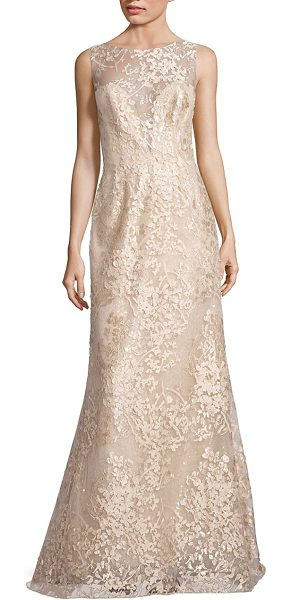 Liancarlo embroidered sleeveless bateau gown in gold - Elegant bateau gown accented with intricate laser-cut...