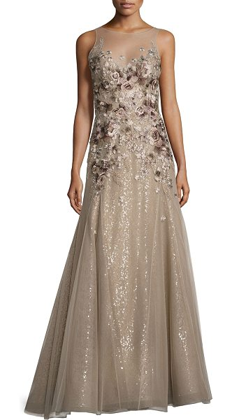 Liancarlo Floral-Embroidered Illusion Gown in beige - Liancarlo gown featuring floral embroidery on tulle with...
