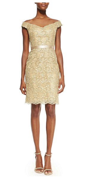 Liancarlo Off-the-shoulder lace dress in gold -  Shimmery golden guipure lace cocktail dress by...