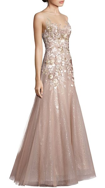 LIANCARLO sleeveless floral sequin gown - Feminine floral embroidery accents stunning sequin gown....