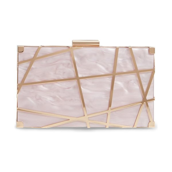 LIKE DREAMS lazer convertible clutch in pink - A drop-in strap provides a hands-free carry option for a...