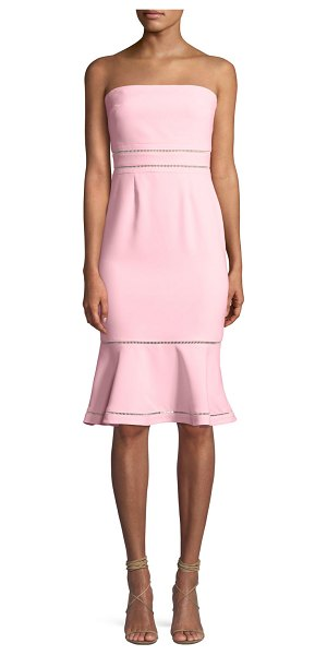"LIKELY Abbott Strapless Flounce Cocktail Dress in light pink - Likely ""Abbott"" cocktail dress with cutout trim...."