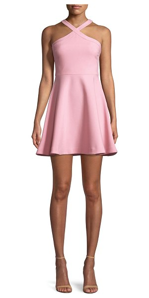 """LIKELY Ashland Halter Sleeveless Fit-and-Flare Short Dress in light pink - Likely """"Ashland"""" stretch-crepe dress. High, halter..."""
