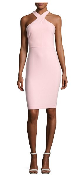 """LIKELY Carolyn Halter-Neck Sheath Dress in pink - Likely """"Carolyn"""" crepe dress. Approx. 39""""L from shoulder..."""