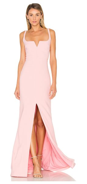 LIKELY Constance Gown in pink - Poly blend. Dry clean only. Unlined. V-wire front...