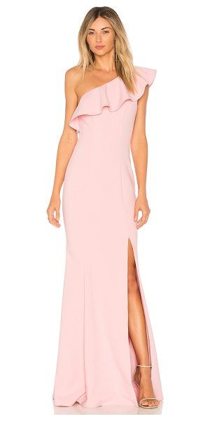LIKELY Kane Gown in pink - Poly blend. Dry clean only. Fully lined. Draped ruffle...
