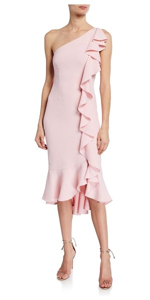 LIKELY Linette One-Shoulder Ruffle Cocktail Dress in rose shadow