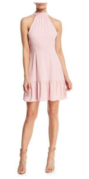 "LIKELY Rory Mock-Neck Sleeveless Mini Dress in light pink - Likely ""Rory"" dress. Smocked mock turtleneck collar;..."