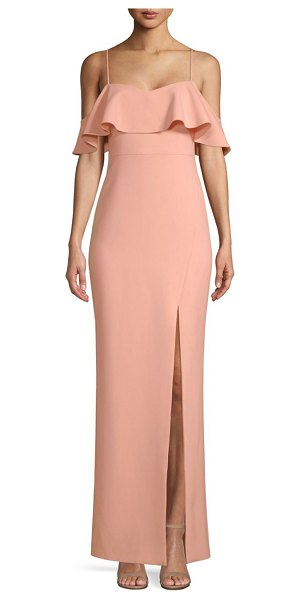 LIKELY shania ruffle gown in peach pearl