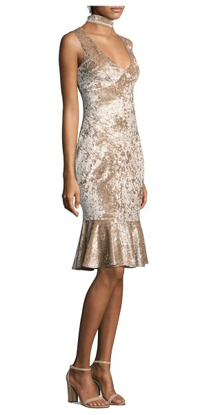 LIKELY velvet choker dress in champagne - Crushed velvet dress with fluted hem. Scoop neck....