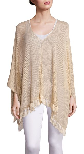 Lilly Pulitzer beatrice tassel trim poncho in gold metal - Lightweight poncho with boho-chic tassel trim.V-neck and...
