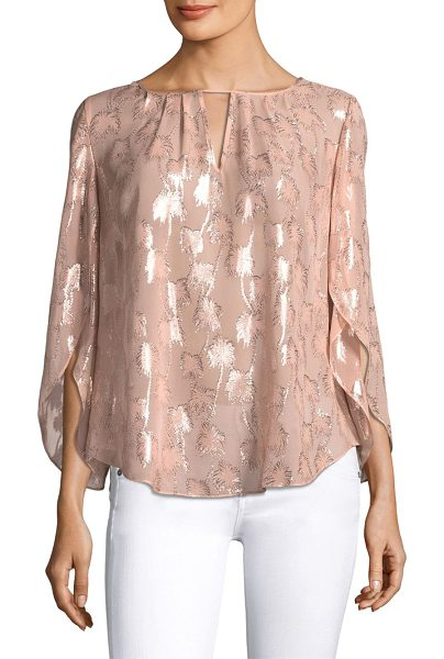 Lilly Pulitzer beccer clip blouse in sandstone - Petal sleeve silk blouse with cutout detail at front....