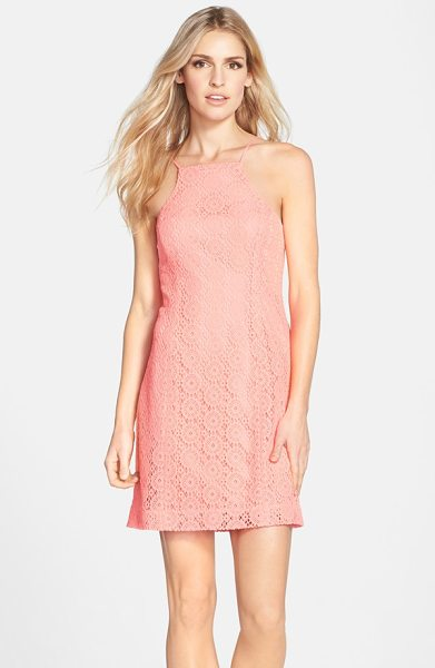 Lilly Pulitzer costello lace sheath dress in pucker pink breakers lace - Cutaway shoulders and a geometric take on lace modernize...