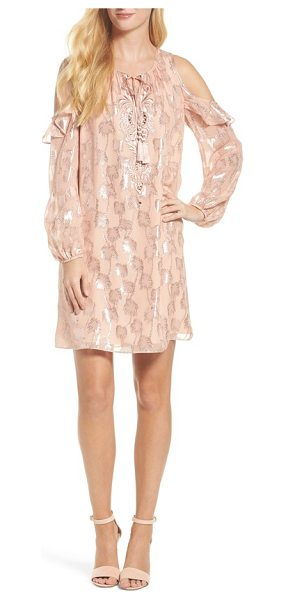 Lilly Pulitzer lilly pulitzer marlyse cold shoulder silk dress in sandstone metallic palm - The ultimate party dress for the season with ruffled...