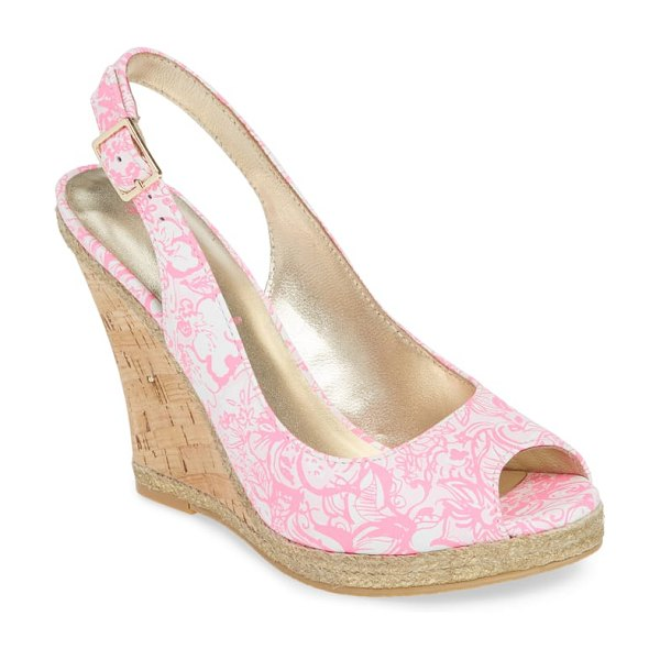 Lilly Pulitzer lily pulitzer krisie slingback wedge sandal in pink