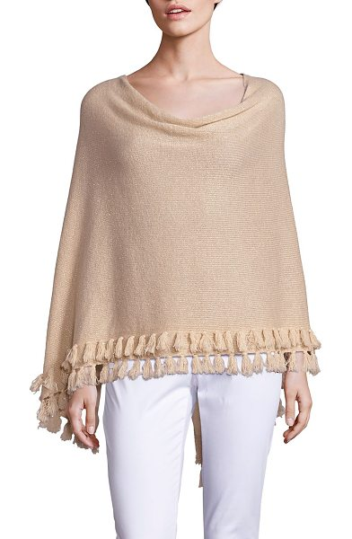 Lilly Pulitzer limonada metallic cashmere wrap in heathered gold - Shimmering cashmere poncho with tiered tassel hem....