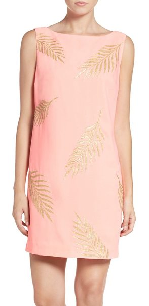 Lilly Pulitzer Lilly pulitzer elaine sequin leaf shift dress in guava melon gold - Palm fronds shimmer in embroidered golden sequins...