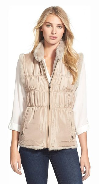 LINDA RICHARDS reversible genuine rabbit fur & ruched silk vest with knit back - A sporty-chic vest reverses from a supersoft fur front...