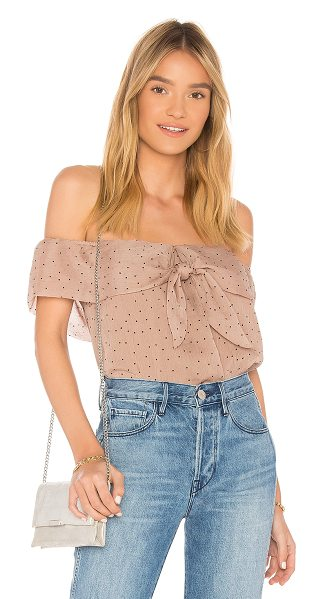 Line & Dot Allegra Top in tan - Poly blend. Hand wash cold. Elasticized neckline with...