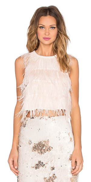 Line & Dot Amelie Ostrich Tank in pink - Poly blend. Dry clean only. Feather accents. Back...