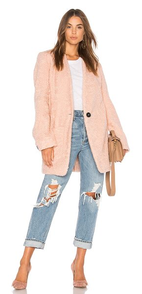 Line & Dot Gomme Coat in pink - Self & Lining: 100% poly. Dry clean only. Front button...