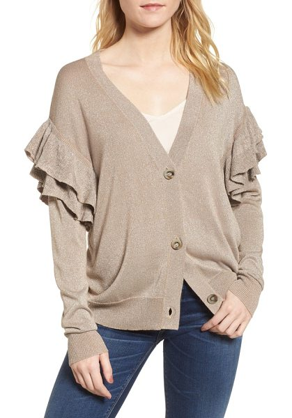 LINE & DOT hull ruffle cardigan - Layers of flouncy ruffles and twinkling metallic threads...