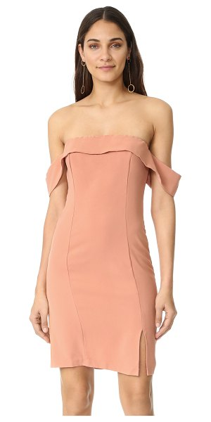 LINE & DOT lopez dress in apricot - An off-center slit relaxes the fit of this strapless...