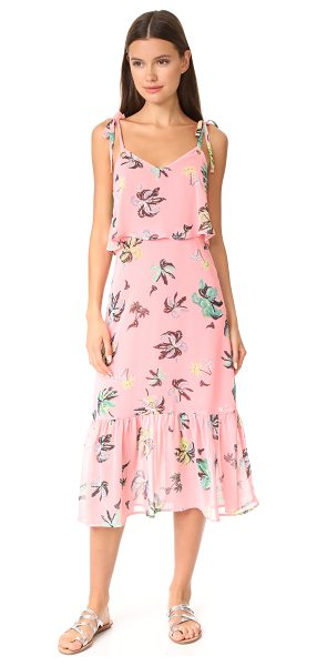 Line & Dot riza ruffle midi dress in salmon pink - A palm tree print and an airy overlay at the bodice...