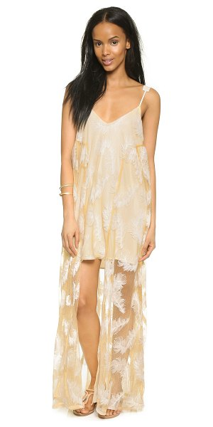Line & Dot Soft feather maxi dress in cream feather - Contrast embroidery creates an elegant feather pattern...