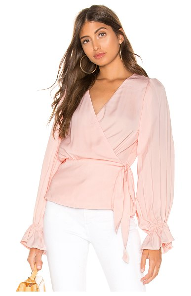 Line & Dot Wrap Blouse in pink - Self: 100% polyLining: 100% rayon. Dry clean only. Crepe...