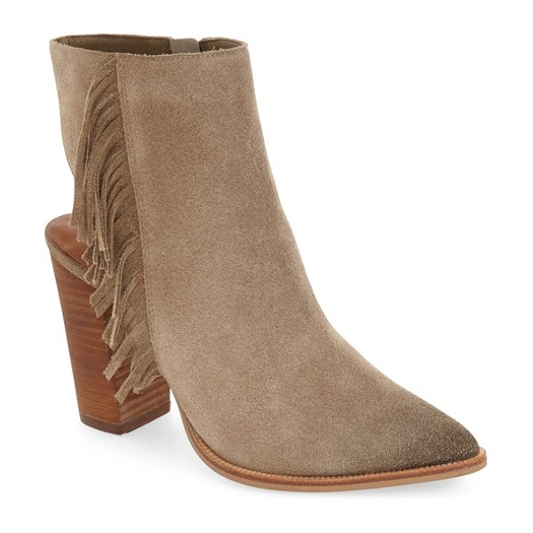 Linea Paolo 'elise' open back fringe bootie in taupe suede - Swingy fringe cascades down the side of a sleek suede...
