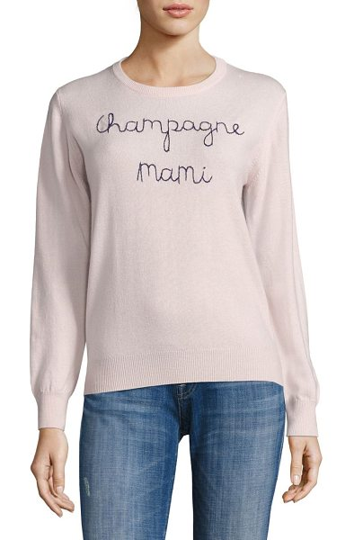 Lingua Franca champagne mami embroidered cashmere sweater in blush navy thread - Soft cashmere sweater with contrast embroidery. Hand...