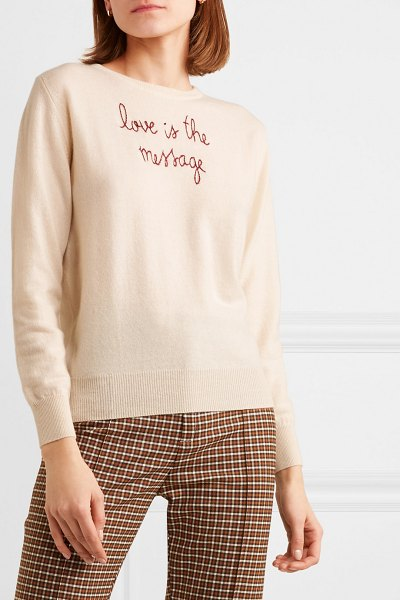 Lingua Franca love is the message embroidered cashmere sweater in cream