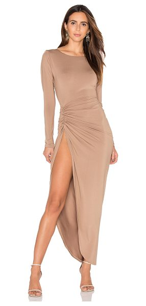 LIONESS Amore Split Maxi Dress - 95% poly 5% spandex. Unlined. Ruched side with slit....