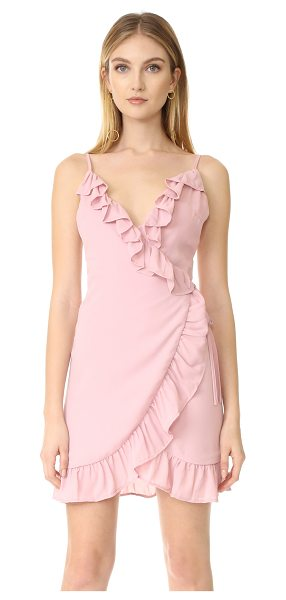 Lioness caliente ruffle dress in blush - A gathered ruffle trims the edges of this flirty Lioness...