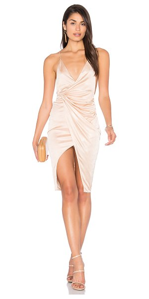 Lioness Carrie Dress in beige - 100% poly. Unlined. Draped fabric detail. Twist back...