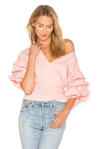 Lioness Esmerelda Wrap Top in pink - 100% cotton. Wrap front with tie closure. Puff tiered...