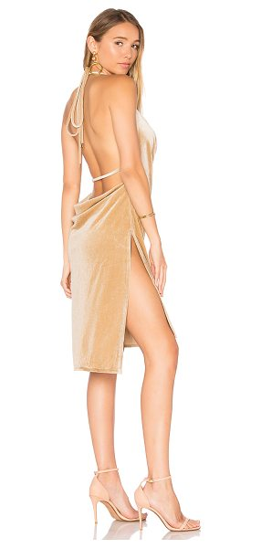 Lioness Vegas Velvet Mini Dress in beige - 100% poly. Dry clean only. Unlined. Halter strap ties...