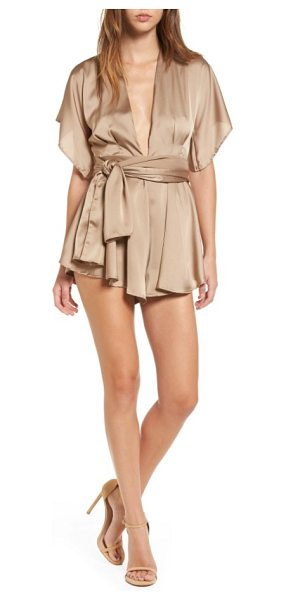 Lioness warhol silky romper in mocha - Ethereal with a silky feel, this drapey romper stuns all...