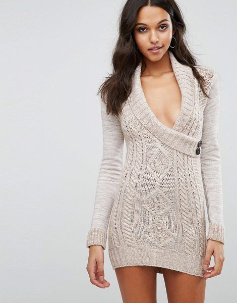 Lipsy Aran Knitted Dress With Wrap Front in stone - Knit dress by Lipsy, Textured knit, Wrap front,...