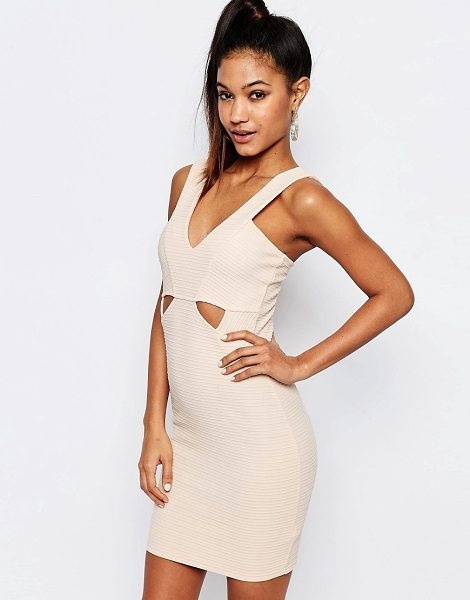 """Lipsy Ariana Grande for  Ribbed Bodycon Cut Out Dress in pink - """"""""Dress by Lipsy, Stretch ribbed fabric, Bandage design,..."""