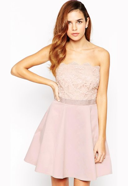Lipsy Bandeau Prom Dress With Lace Embellished Top in pink - Evening dress by Lipsy, Mid-weight crisp fabric, Silky...