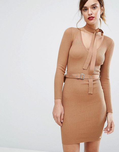 """Lipsy Belted Sweater Dress With Tie Neck in tan - """"""""Knit dress by Lipsy, Soft-touch ribbed knit, Self-tie..."""