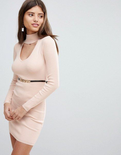Lipsy belted sweater dress in nude - Dress by Lipsy, High neck, Cut-out detail, Belted waist,...