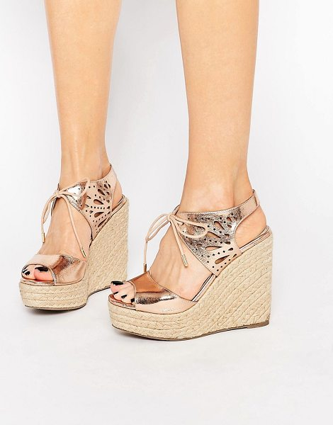"Lipsy Brooke Rose Gold Metallic Tie Up Wedge Sandals in gold - """"Sandals by Lipsy, Metallic faux-leather upper, Rose..."