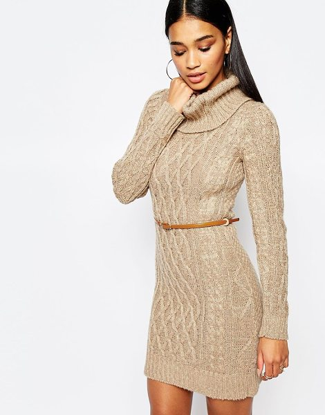 Lipsy Lipsy Cable Knit Dress with Cowl Neck in tan - Knit dress by Lipsy, Chunky knit, Roll neckline, Cable...