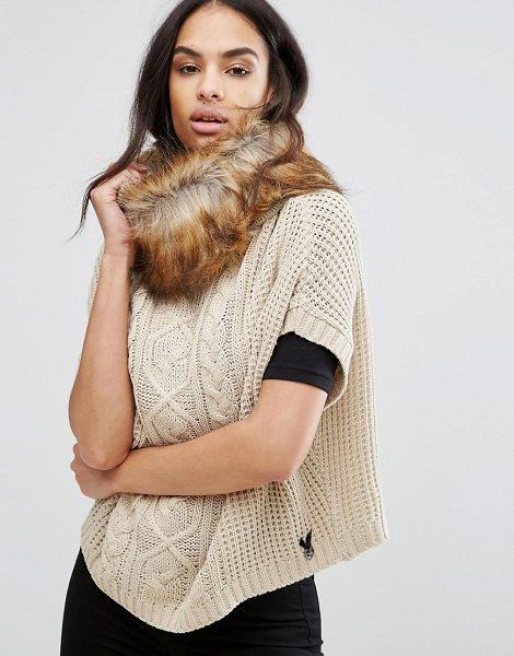 "Lipsy Cable Knit Poncho With Faux Fur Trim in beige - """"Poncho by Lipsy, Chunky cable knit, Faux-fur trim,..."